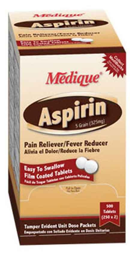 Medique Products® Aspirin 325mg Tablets, 250 per boxMedique Products® Aspirin 325mg Tablets, 250 per boxMedique