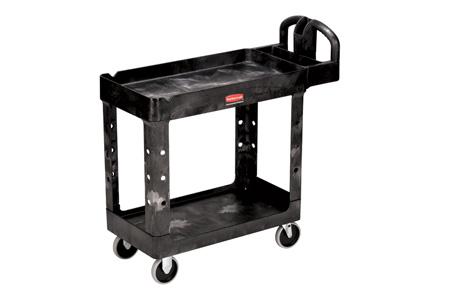 Rubbermaid 4500-88 Utility Cart Two Lipped Shelves Black 500lb CapRubbermaid 4500-88 Utility Cart Two Lipped Shelves Black