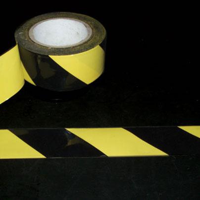 Warning Tape, Pressure-Sensitive Vinyl, Striped, Black / Yellow, 2 in, 18 ydsWarning Tape, Pressure-Sensitive Vinyl, Striped, Black / Yellow,