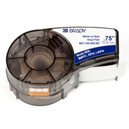 Label Printer Cartridge, Vinyl Film, Gloss, White on Red, 3/8 in, 21 ftLabel Printer Cartridge, Vinyl Film, Gloss, White on
