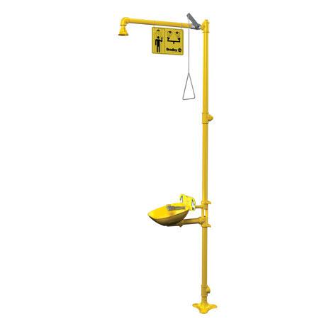 Halo™, Combination Drench Shower and Eyewash Station, Floor Mount, YellowHalo™, Combination Drench Shower and Eyewash Station, Floor