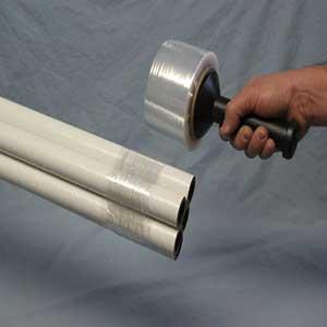 "Clear Hand Wrap Stretch Film 60-Gauge 1000' L x 3"" W Reusable HandleClear Hand Wrap Stretch Film 60-Gauge 1000' L"