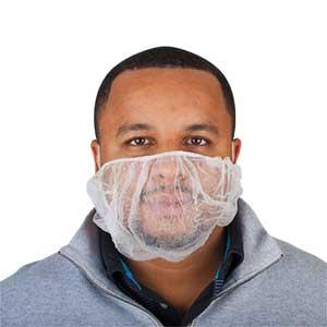 White Polypropylene Disposable Beard Covers 18
