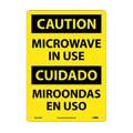 Caution Microwave in Use Sign, Bilingual, Rigid Plastic